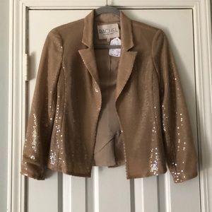 Rachel Roy Beige Iridescent Sequin Blazer Size 0
